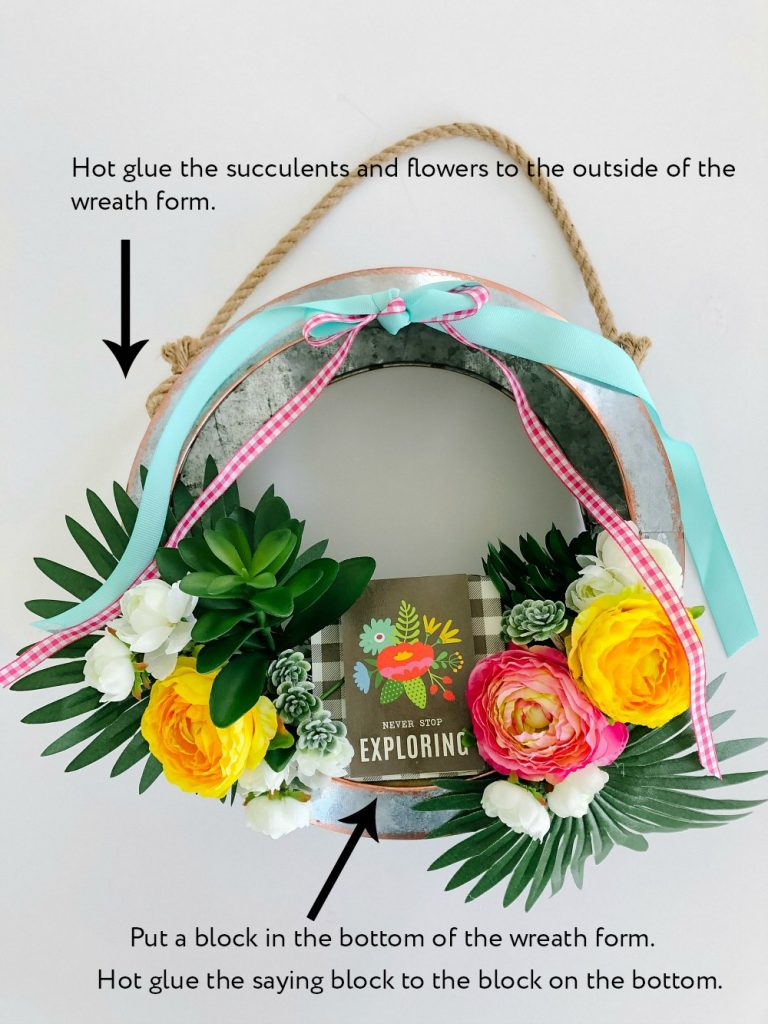 Summer Succulent Metal Farmhouse Wreath. Create a colorful summer wreath with scrapbook paper, a metal wreath form and faux flowers and succulents.