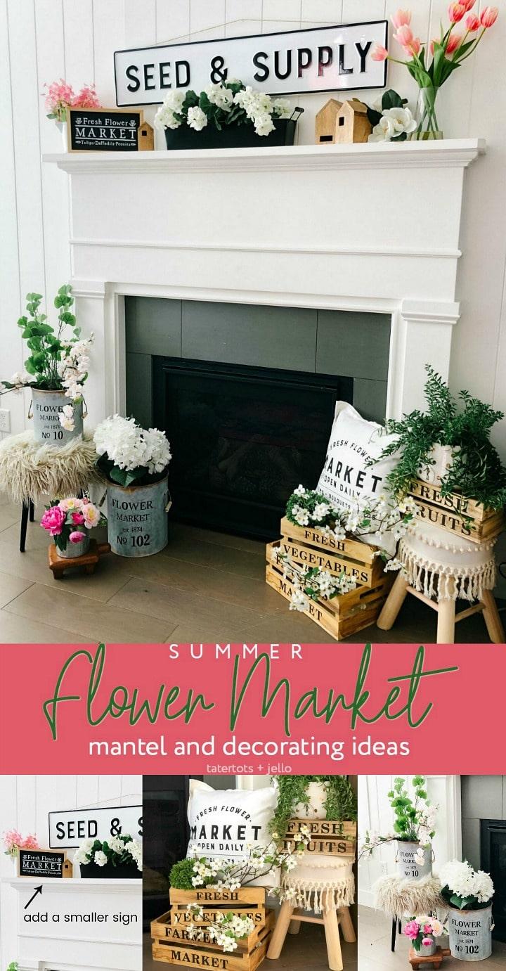 Summer Flower Market Mantel