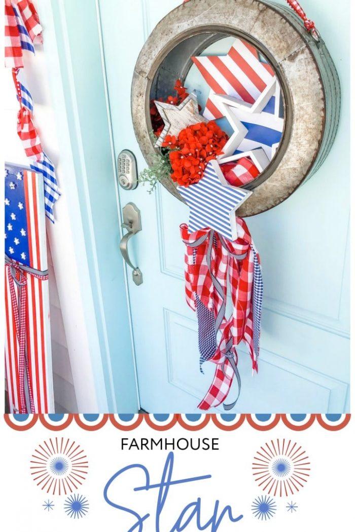 Make a Fourth of July Metal Farmhouse Star Wreath