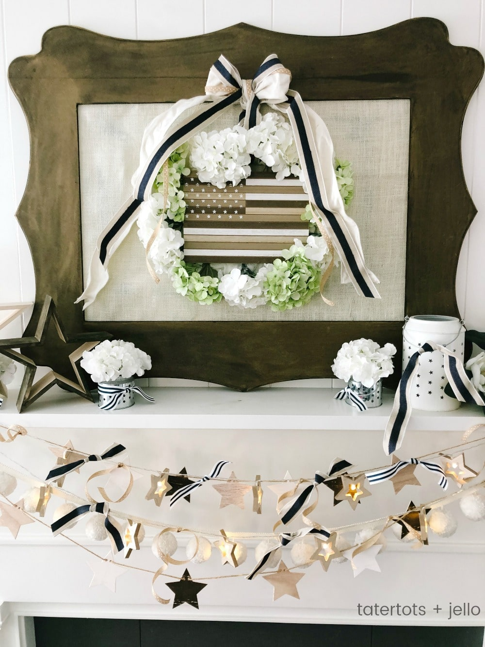 Neutral Fourth of July Mantel - Farmhouse/Cottage Style. FIVE easy DIY elements to create a neutral Fourth of July mantel. Neutral elements are easy to integrate into any type of decor.