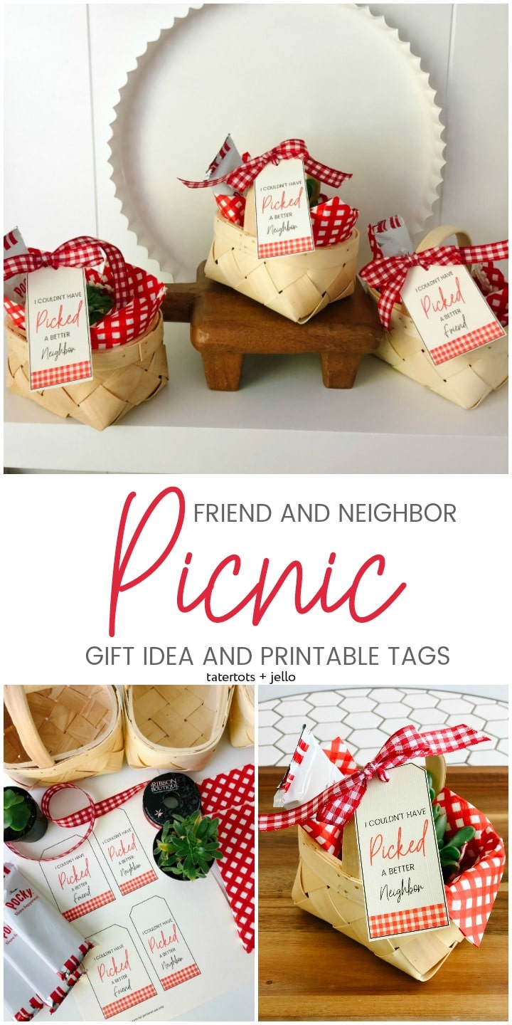 Summer is the perfect time for picnics. Give your friend or neighbor a fun picnic gift with this gift idea and free printable tags.