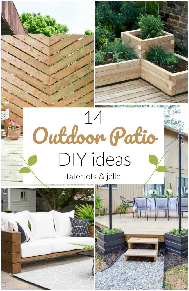 14 Outdoor Patio DIY Ideas! It's the perfect time to work on your yard! Here are some beautiful DIY projects to improve curb appeal!