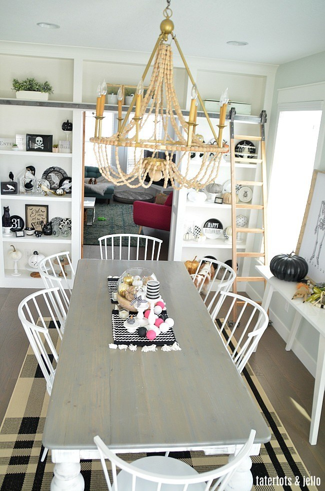 Black and White Farmhouse Halloween Dining Room