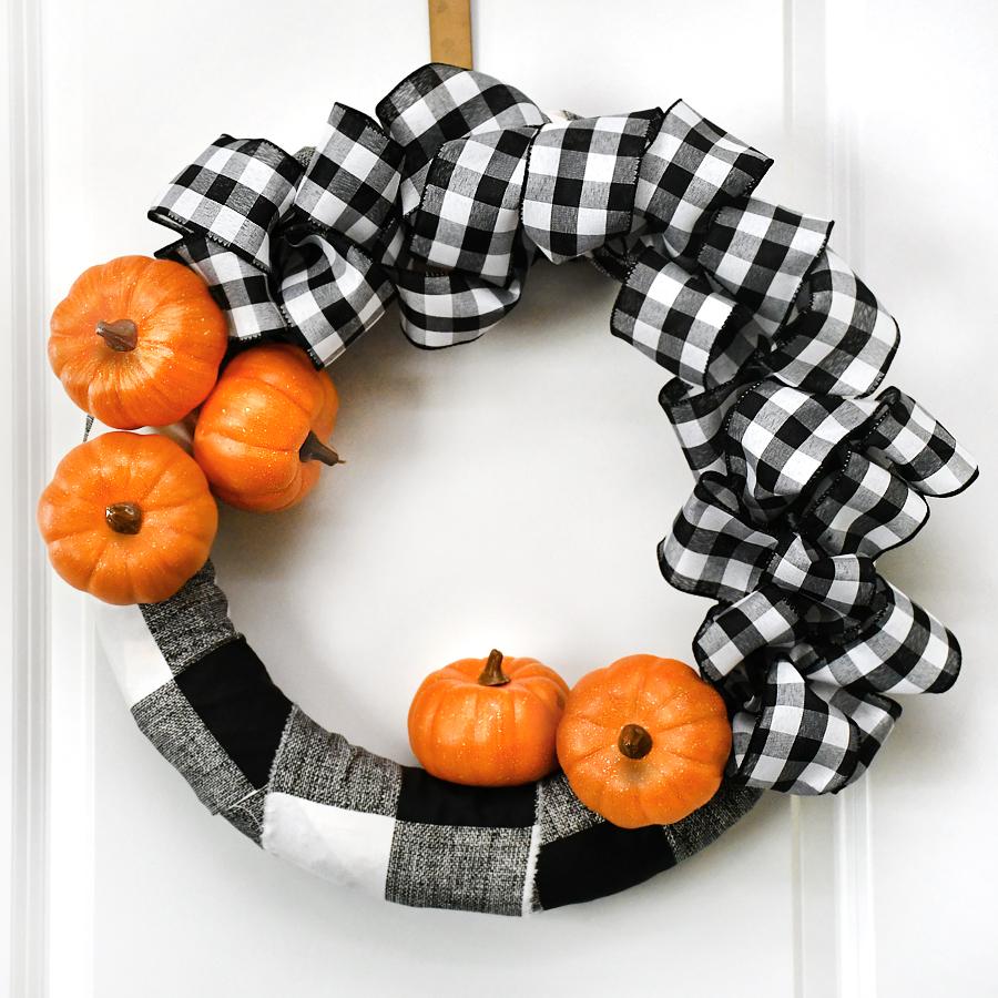 Buffalo Check Pumpkin Wreath @ How to Nest for Less