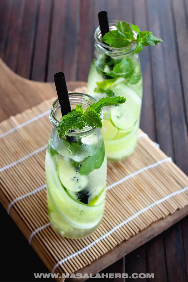 Fresh Lemon Cucumber Mint Water @ Masala Herb