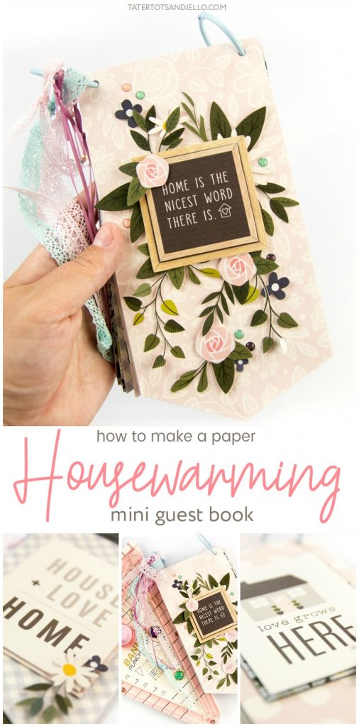How to make a housewarming paper mini guest book! Create a beautiful keepsake for your home or as a housewarming gift for a new home. Guests can leave a special memory or photo of the time they visit!