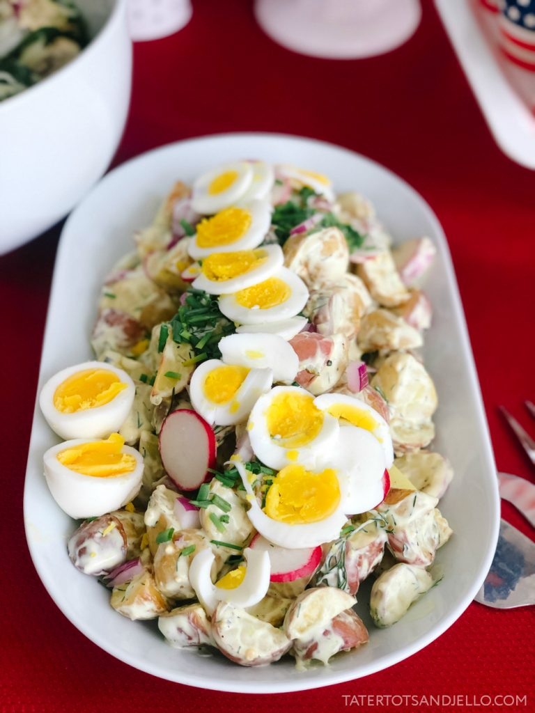 Roasted Herb Ranch Potato Salad. Flavorful herbs and potatoes are roasted, combined with crunchy veggies and a mouth-watering herbed ranch sauce for a potato salad that is out of this world!