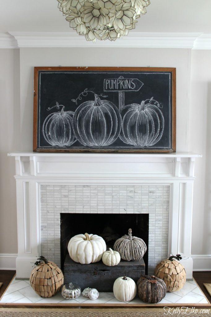 Fall Pumpkin Patch Mantel @ Kelly Elko