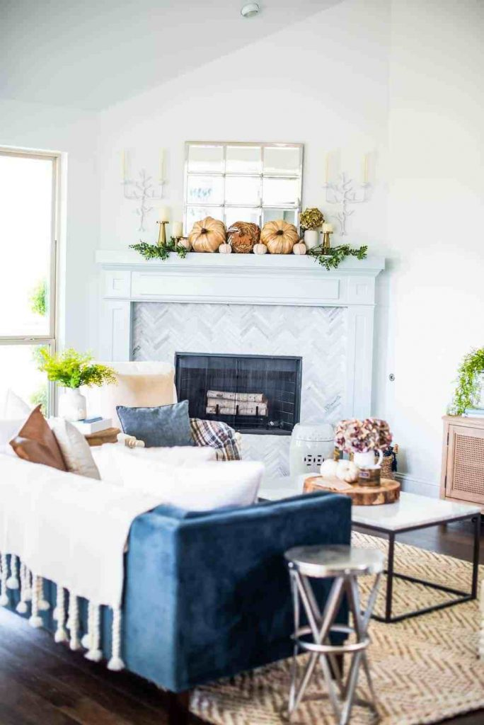 Neutral Fall Living Room Home Tour @ A Blissful Nest