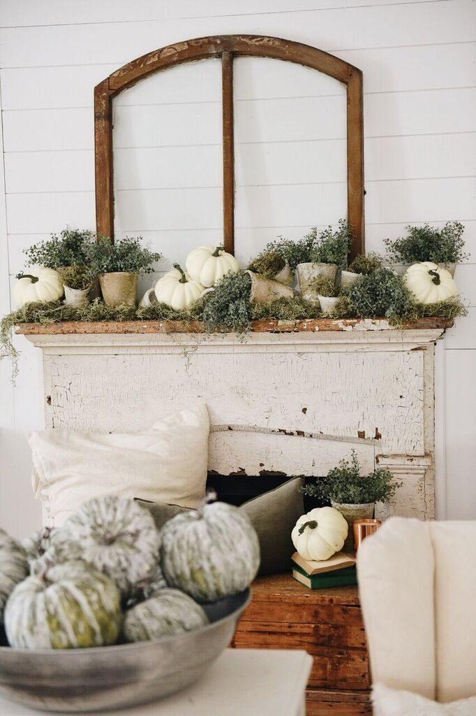 Rustic Garden Fall Mantel @ Liz Marie Blog