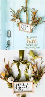 Make a Fall Embroidery Hoop Wreath!