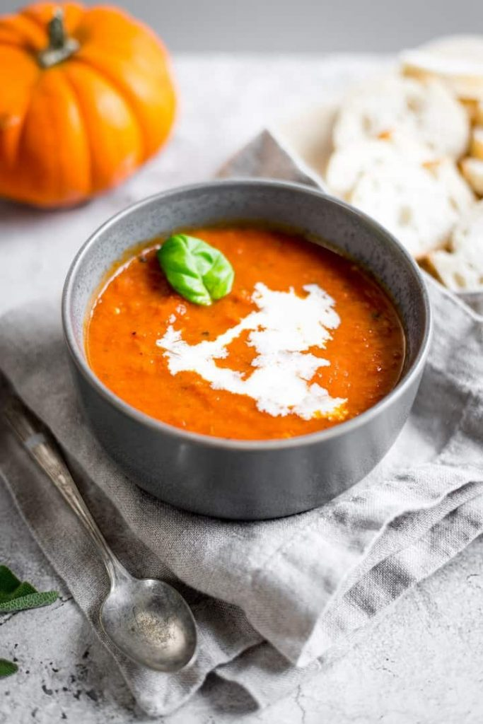 Creamy Vegan Tomato Pumpkin Soup @ Charisse Yu