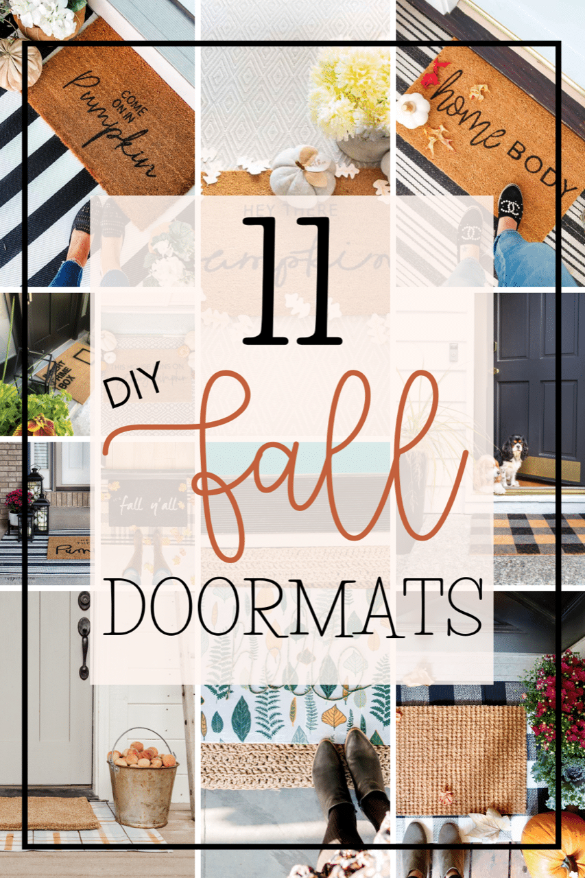 Make an Easy Fall Stenciled Doormat! All you need is a plain doormat vinyl, and paint to create a welcoming doormat for Fall.