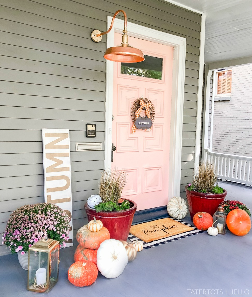 Blush and Copper Front Porch Decorating for Fall.