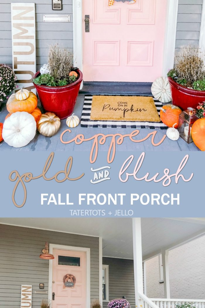 Copper, Gold and Blush Fall Porch Decorating Ideas