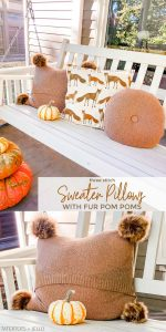 Easy Sweater Pillows Covers with Fur Pom Poms