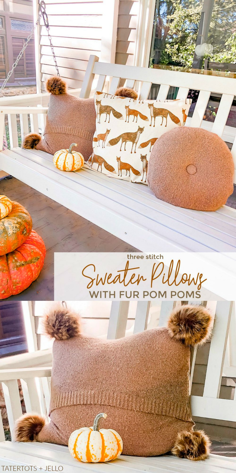 how to upcycle sweaters into luxury sweater pillows with fur pom poms