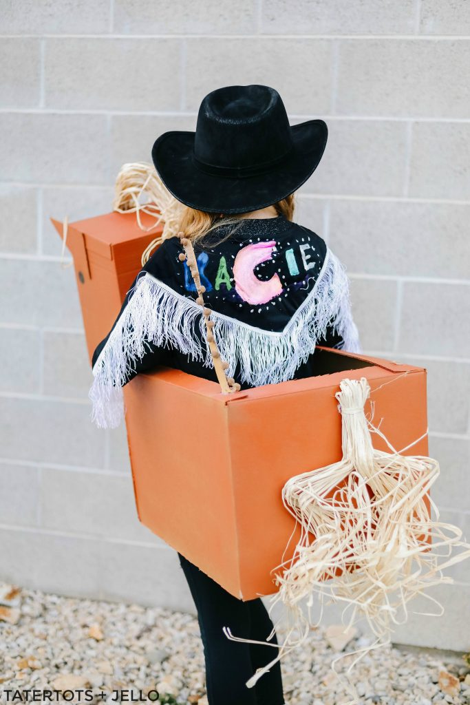 """""""Old Town Road"""" Western Boxtume DIY. Turn a catchy western song into an easy Halloween costume with Amazon smile boxes and some creativity!"""