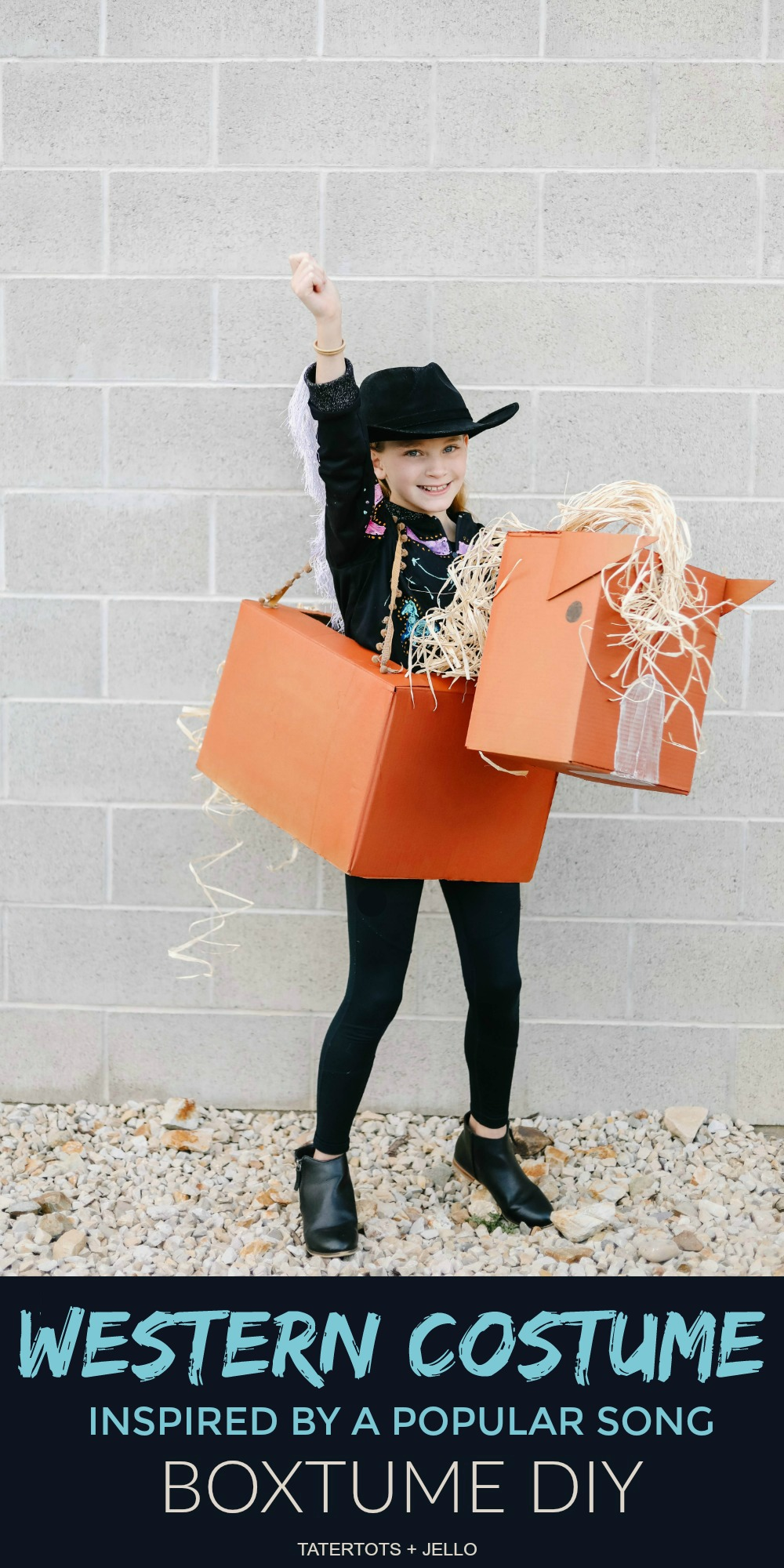 """""""Old Town Road"""" Western Boxtume Costume DIY. Turn a catchy western song into an easy Halloween costume with Amazon Prime smile boxes and some creativity!"""
