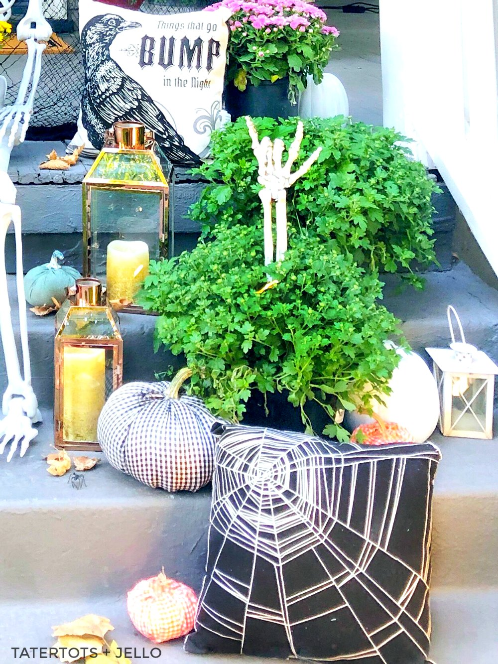 7 Easy Ways to Create a Spooky Skeleton Halloween Porch! Add fresh flowers, lanterns, signs, banners and wreaths to create the perfect spooky Halloween porch!