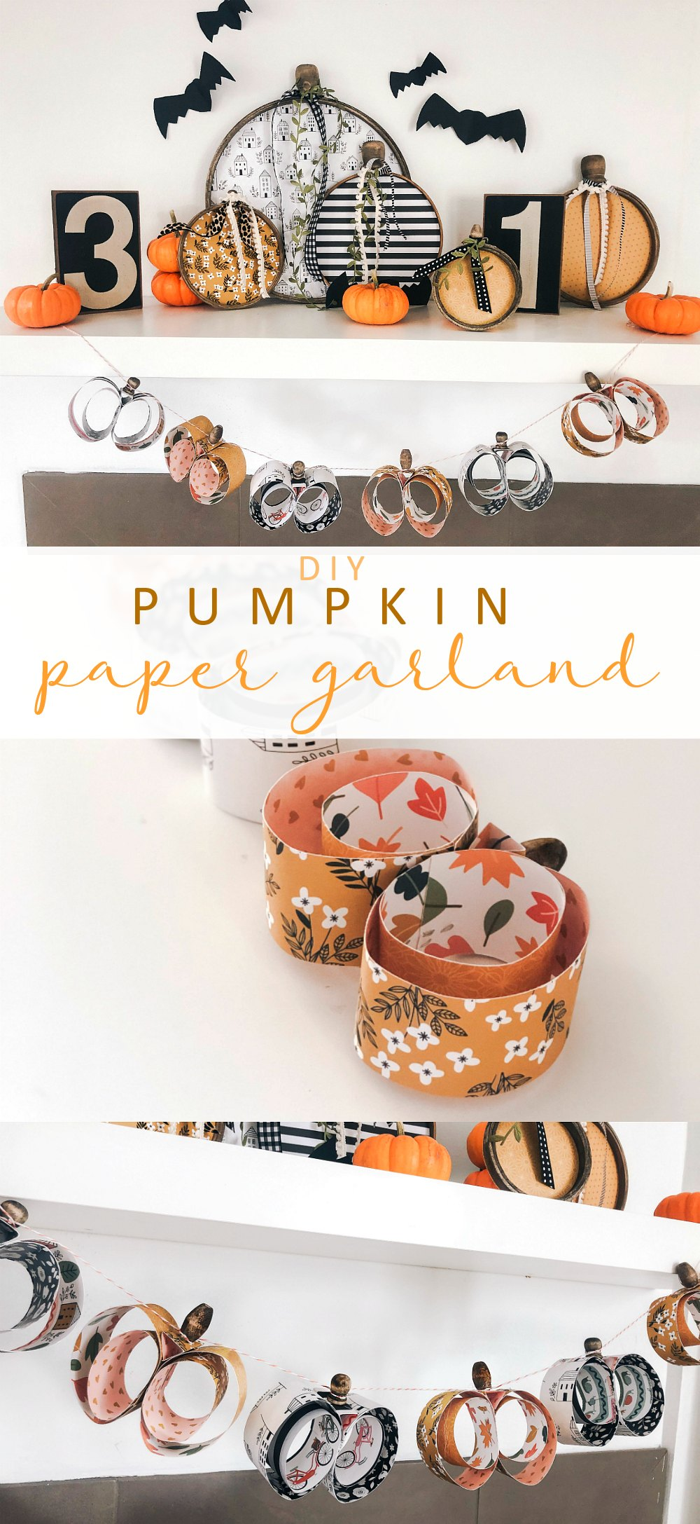 Easy Paper Pumpkin Shaped Garland For Autumn
