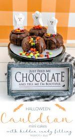 Halloween Cauldron Mini Cakes with Candy Inside!