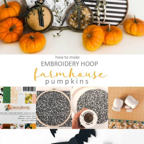 Embroidery Hoop Farmhouse Pumpkins. Turn embroidery hoops pretty and paper into adorable pumpkins you can display all fall long!