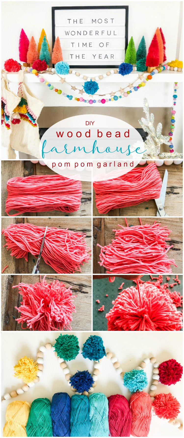 Farmhouse Wood Bead And Pom Pom Garland For The Holidays