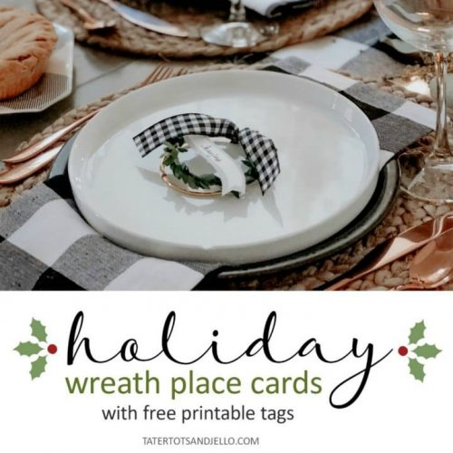 Holiday Place Card Wreaths with Printable Tags! Wow your holiday guests with a beautiful table and EASY personalized wreath place cards!