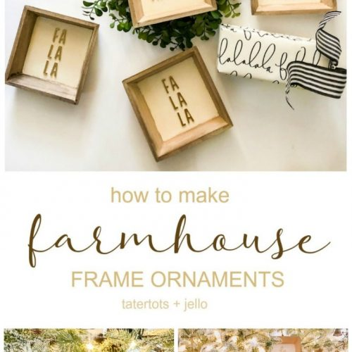 Farmhouse Christmas Sign Ornaments DIY. Create neutral farmhouse-style ornaments with $1 frames and thickers. It's so easy and goes with any decor!