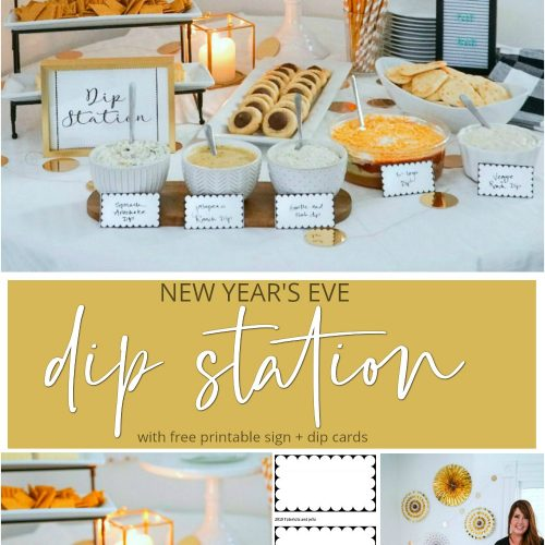 New Year's Eve Dip Station with Free Printable Cards! Start a new NYE tradition with a fun dip station. It's perfect for game night and super bowl parties too!