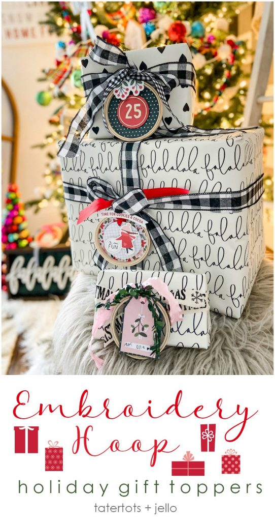 Embroidery Hoop Holiday Gift Toppers. Create adorable holiday gift toppers ornaments with embroidery hoops and paper! They can be used each year as ornaments.