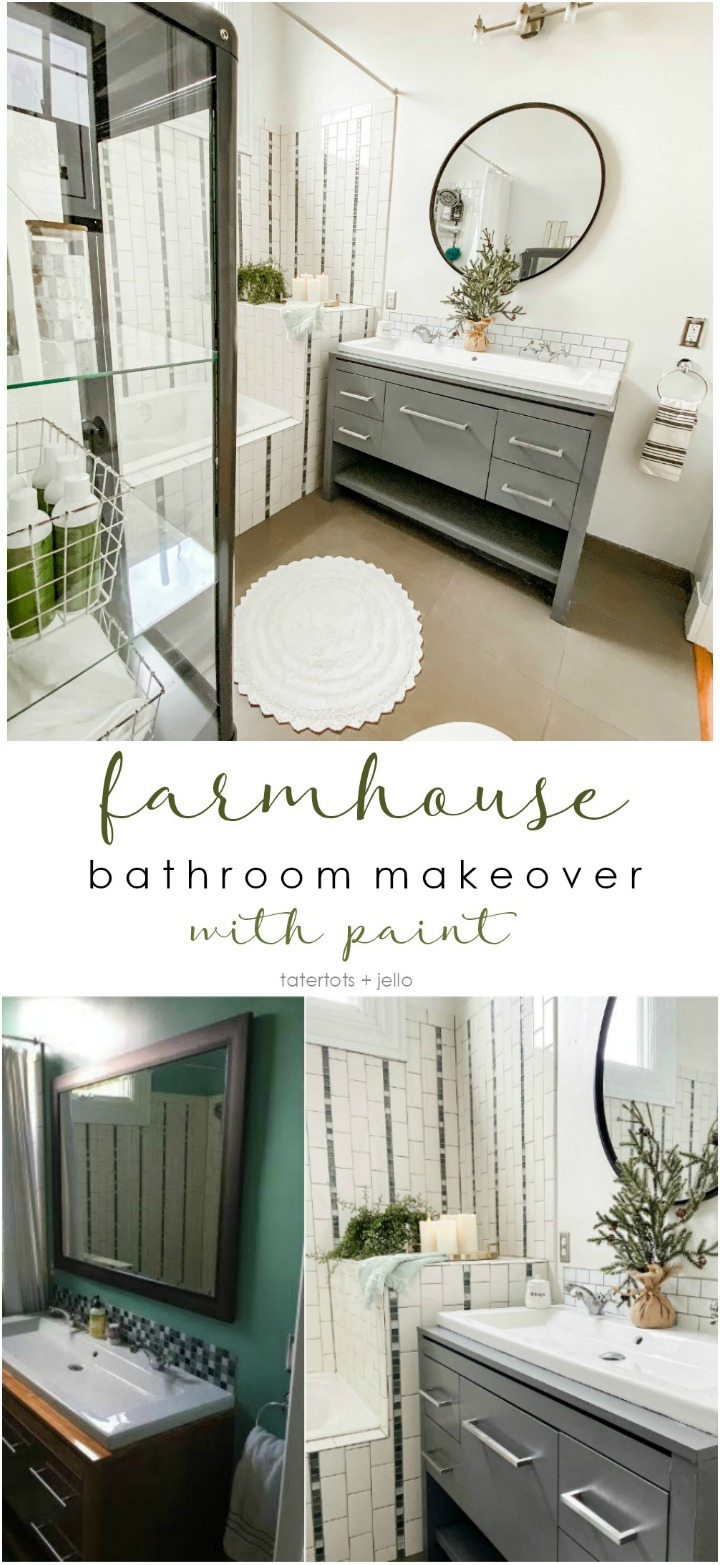 Modern Farmhouse Bathroom Update with Paint. Update a tired bathroom inexpensively and easily with paint, all it takes is a few hours plus Kilz primer and paint.