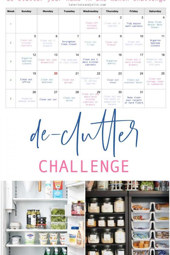 January 2020 Declutter Organization Challenge with free printable calendar!