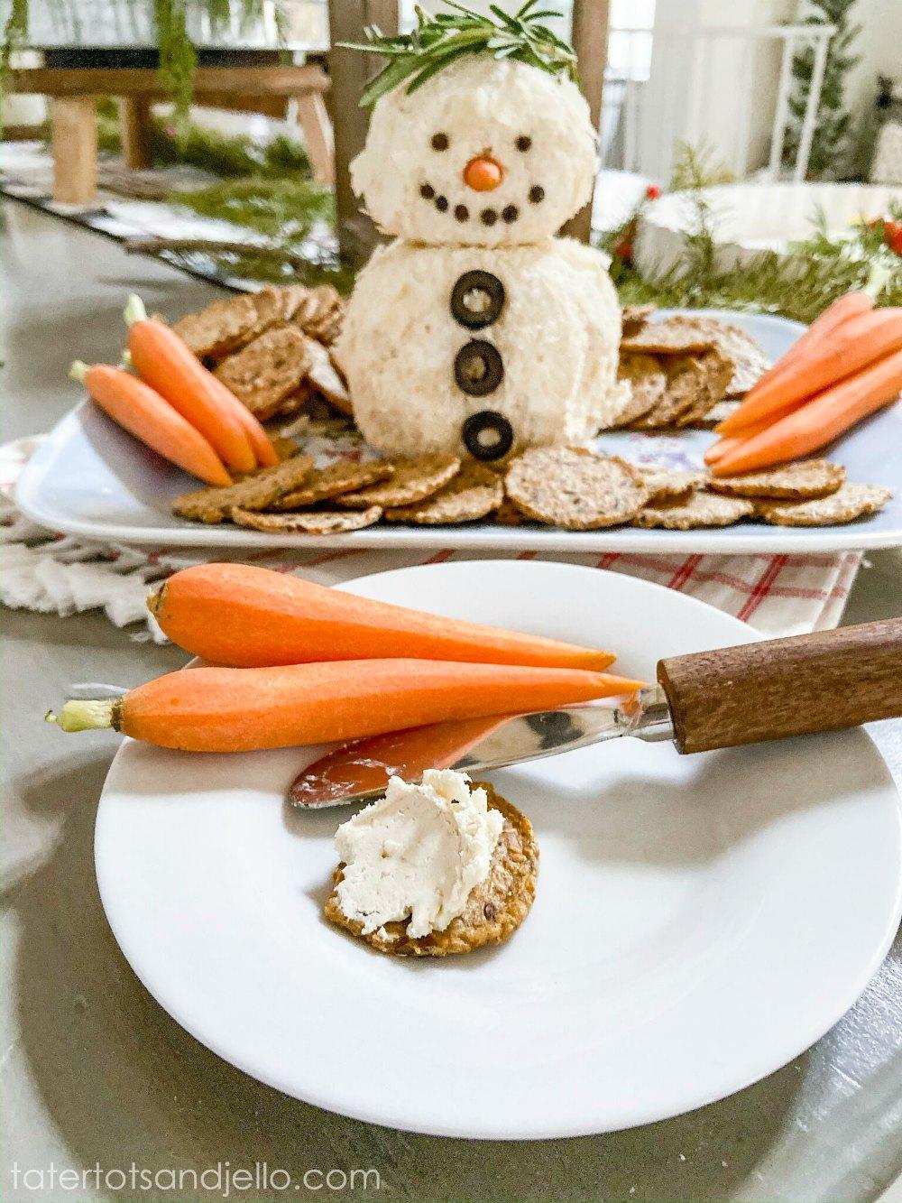 15-Minute Snowman White Cheese Ball Recipe