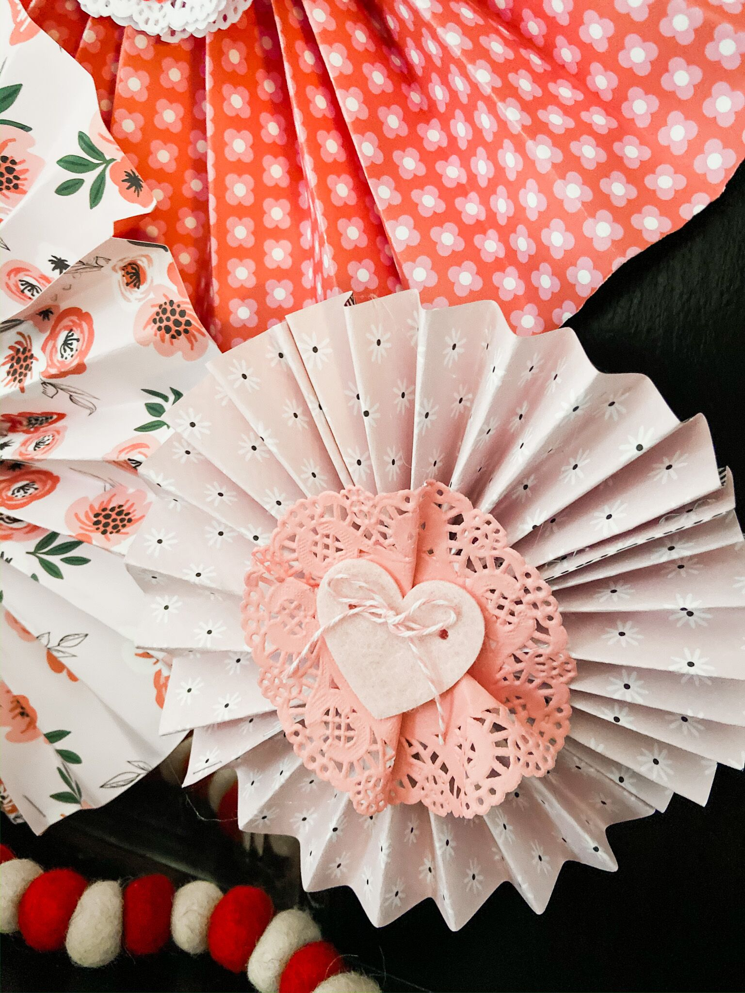 DIY Paper medallions on a mantel.