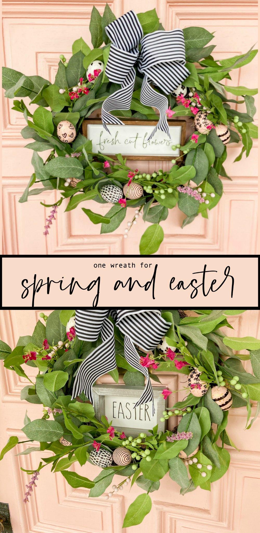 Farmhouse Spring Sharpie Egg Wreath. Create a vibrant Spring Wreath with sharpie eggs for a black and white farmhouse take on Spring!