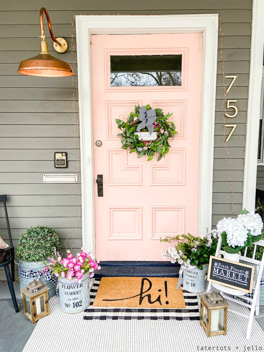 bright colorfu lspring flower porch