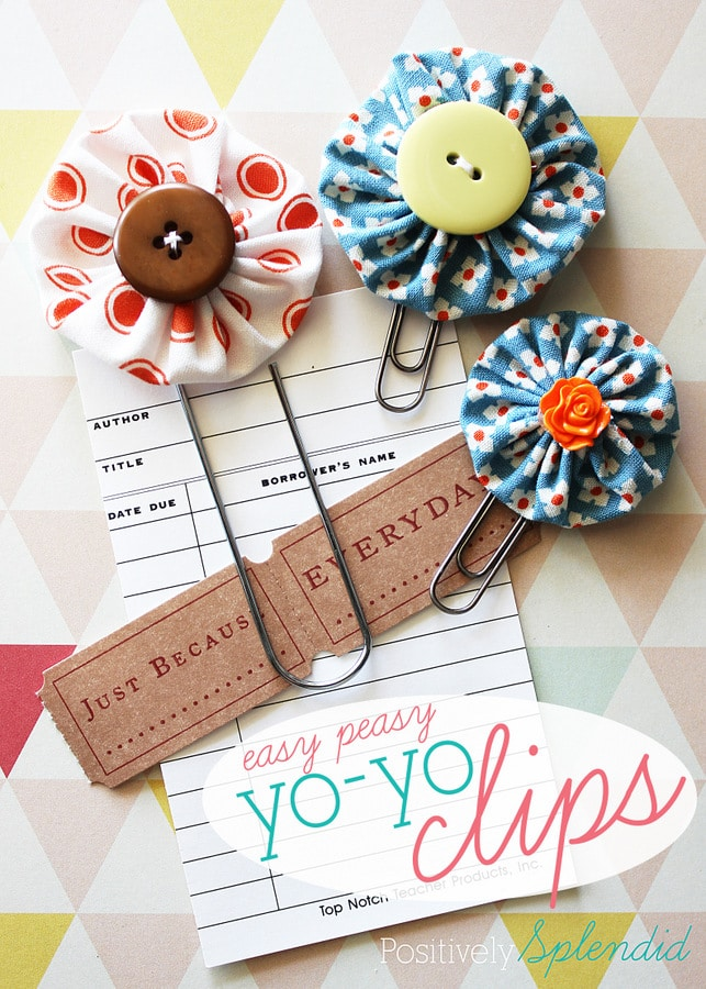 Easy peasy yo yo bookmark clips. Create adorable bookmarks by making fabric yo yo's and attaching them to paper clips. Kids will love this easy craft.