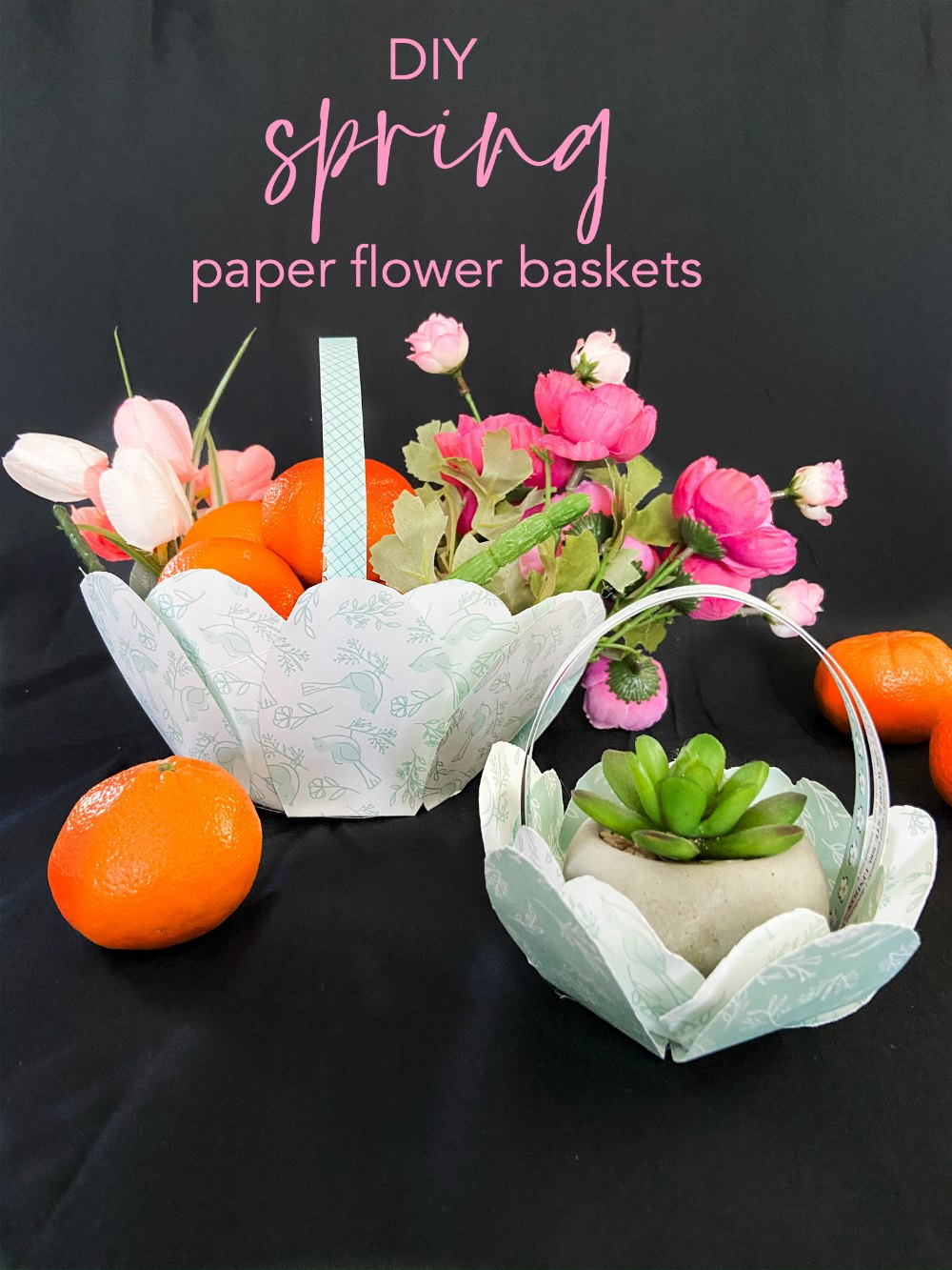 Sprin Flower Baskets our of Scrapbook Paper