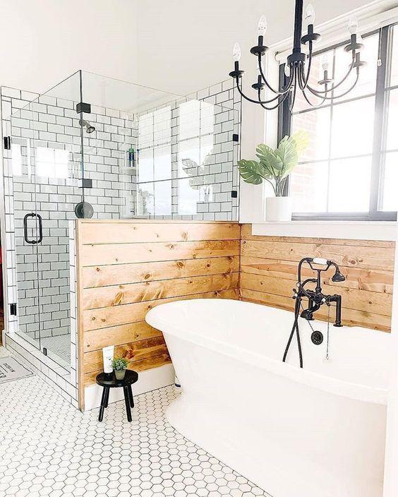 20 modern farmhouse cottage bathroom tile ideas