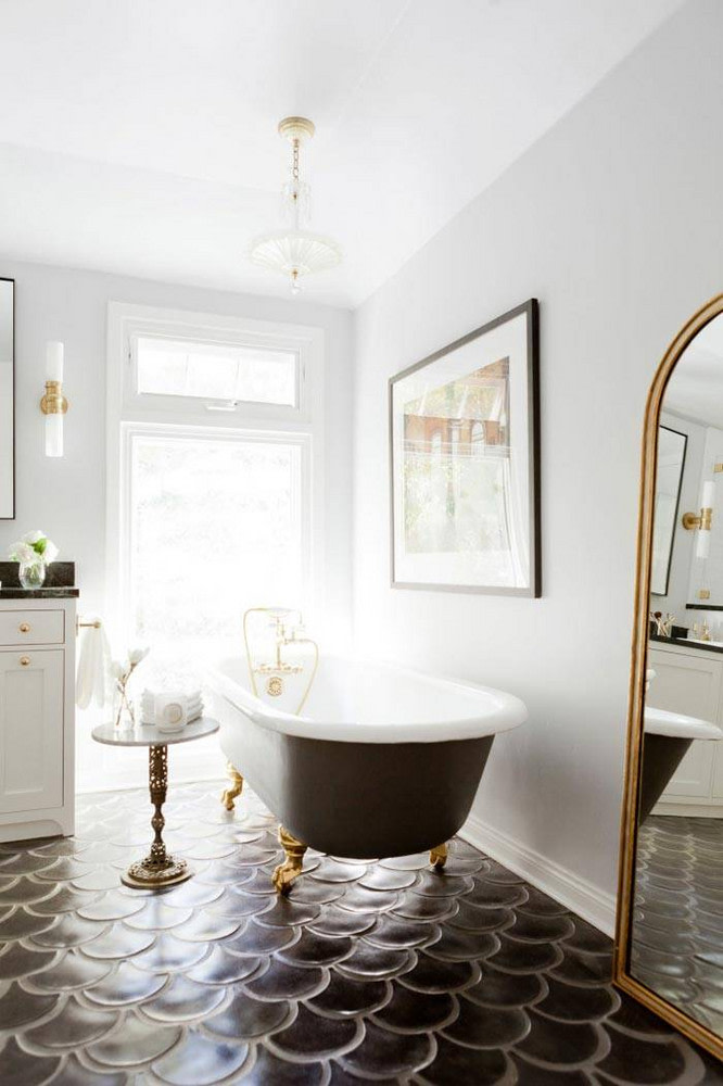 black and white modern cottage tile bathrooms.
