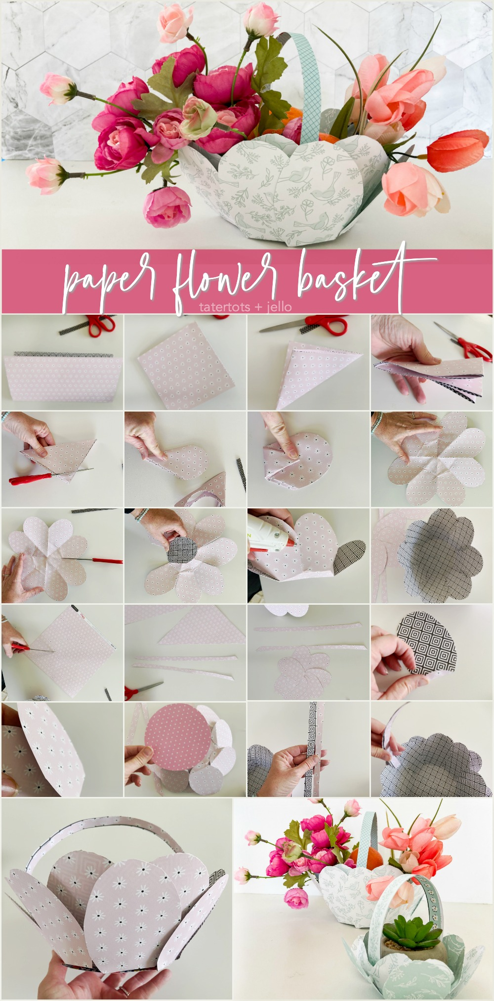 Paper Flower Gift Baskets for Spring or Easter. Turn paper into delightful flower baskets that you can fill with treats as a small gift on your Easter or Mother's Day table, or make a bigger size to take to a friend or neighbor.
