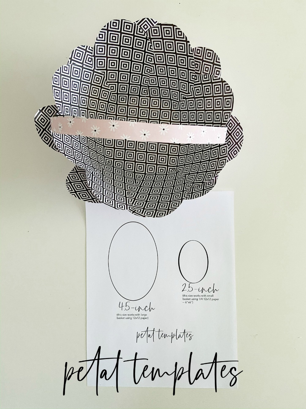 Paper Flower Basket Petal Templates. Just print them off and trace around the template onto your scrapbook paper.