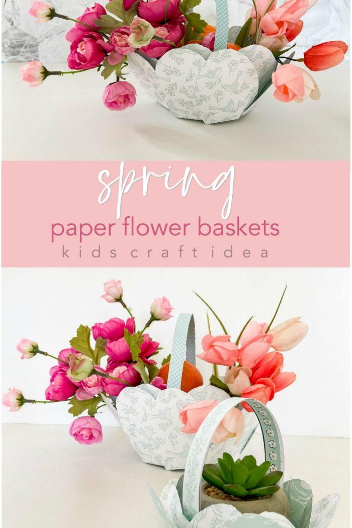 Paper Flower Gift Baskets for Spring or Easter