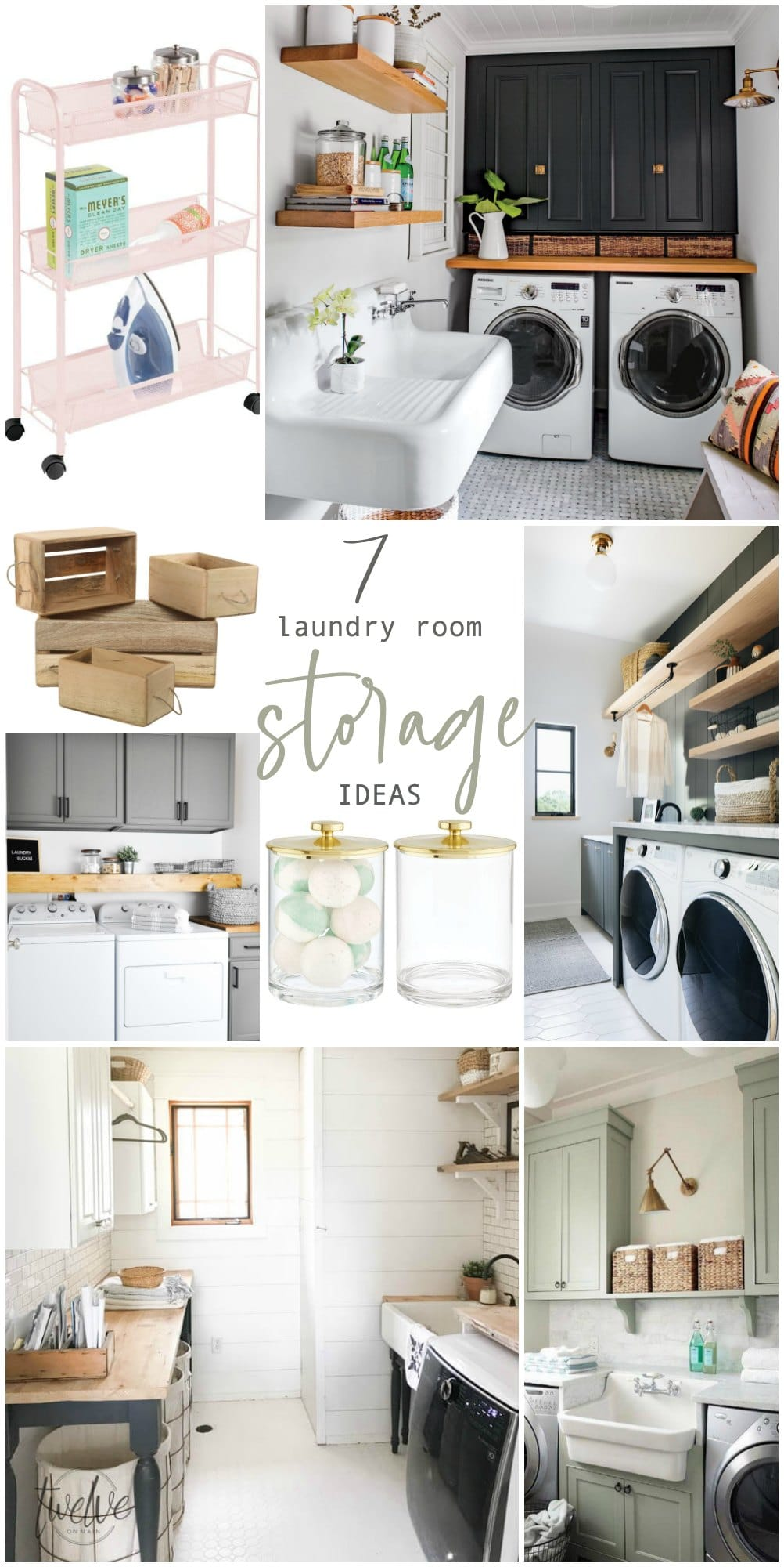 Seven Genius Ways to Bring Storage into a Small Laundry Room! Pack a lot of style and storage into a small space with these inspiring laundry room storage ideas.