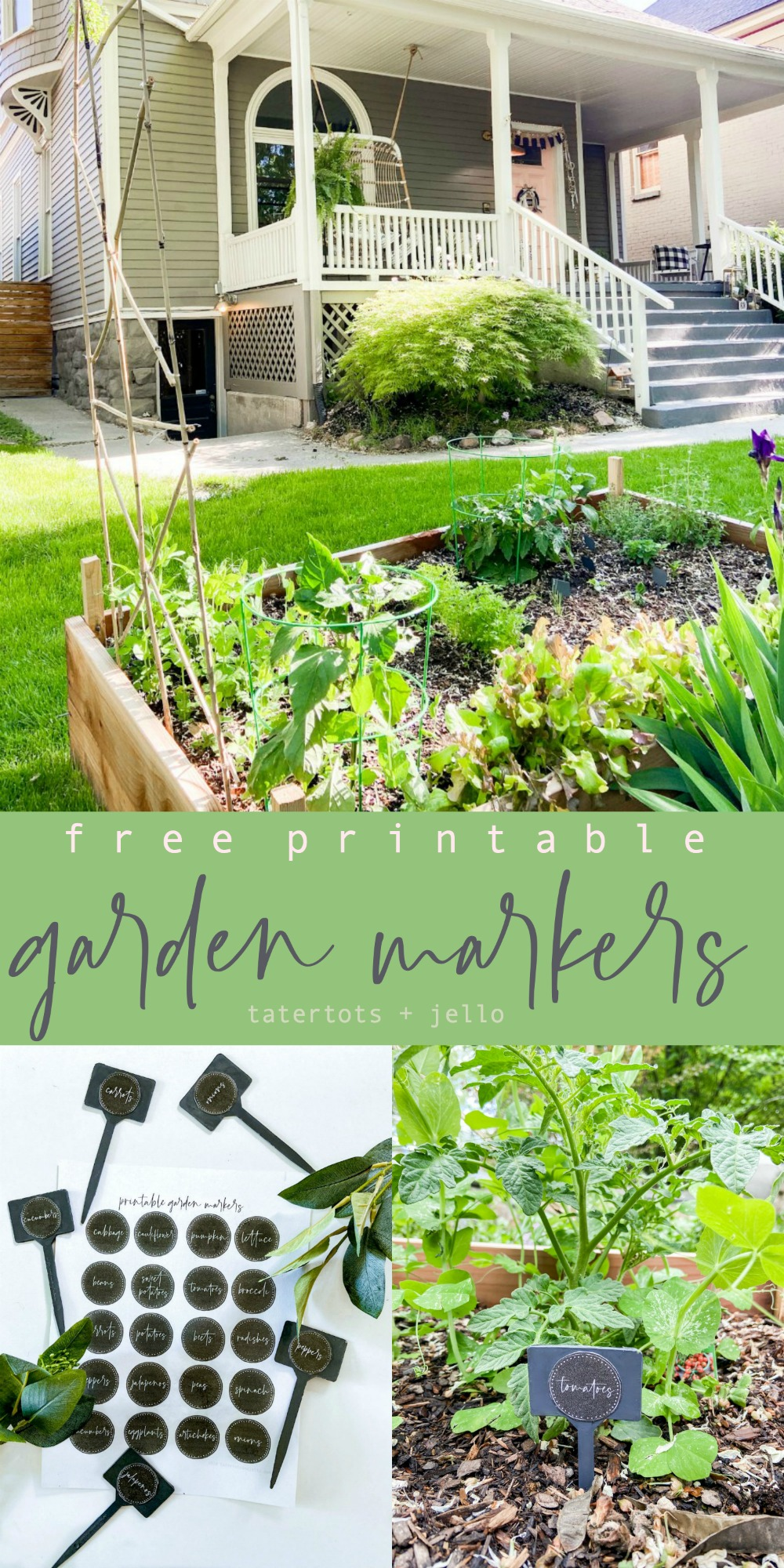 Printable Garden Plant Markers. Keep track of the plants in your garden with these DIY Garden Plant Markers with free printables that are the perfect size for Dollar Store stakes.