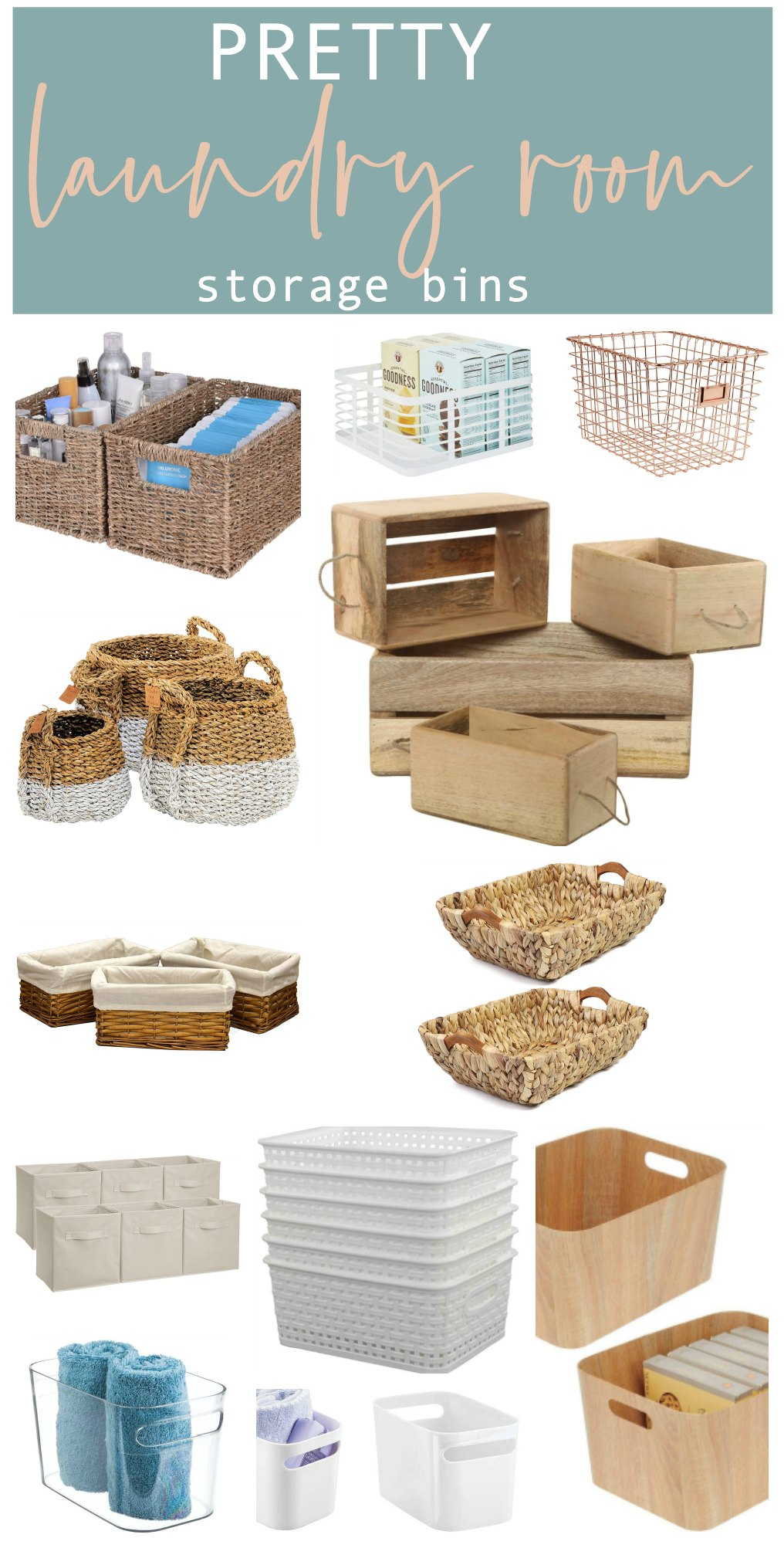 Laundry room baskets and bins for beautiful storage.