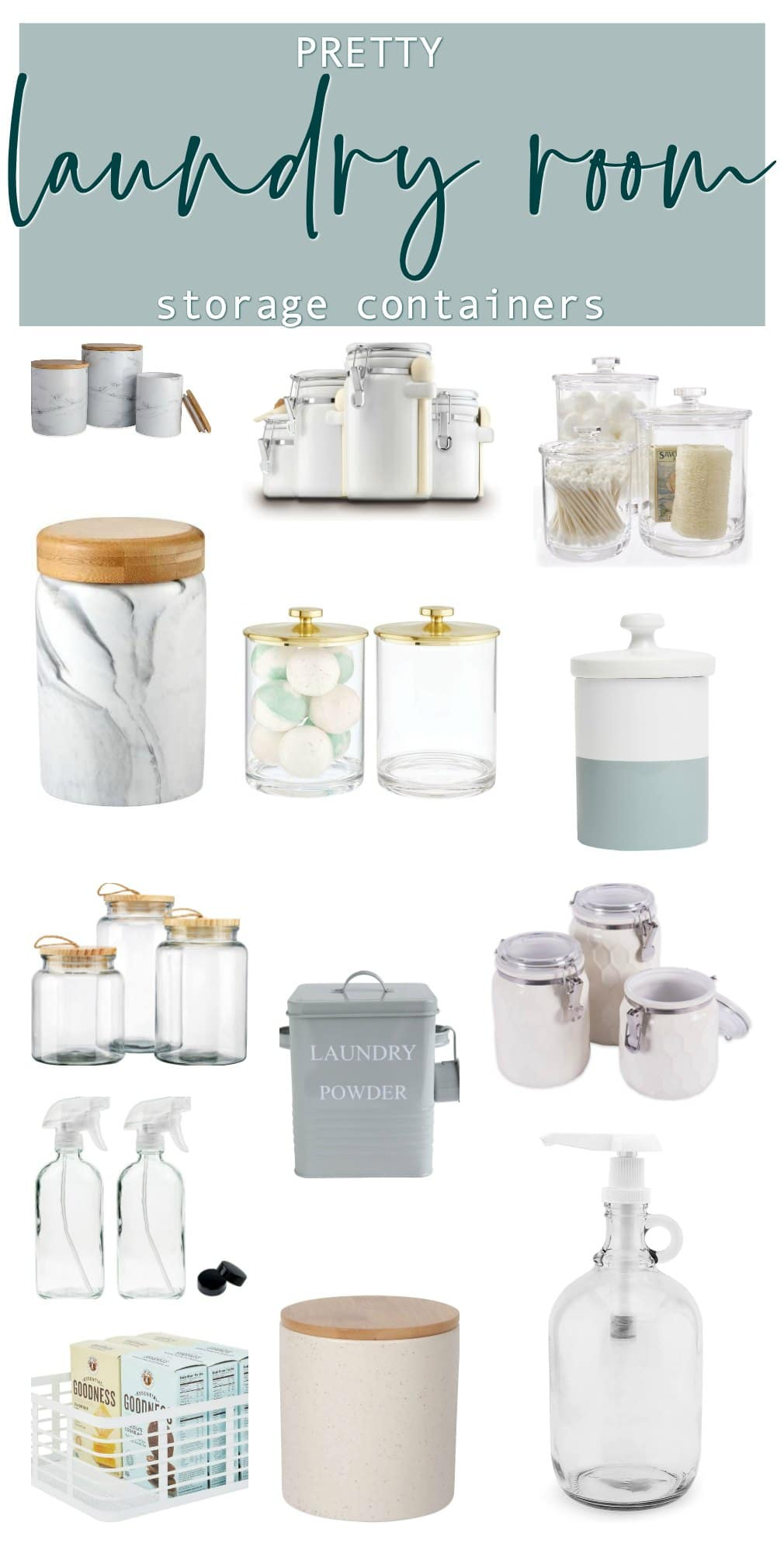Pretty Laundry Room Storage containers with easy to find links
