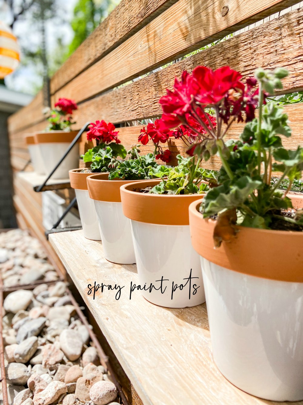 How to spray paint terra cotta shelves. spray painted pots on a shelf to make a hanging patio garden.